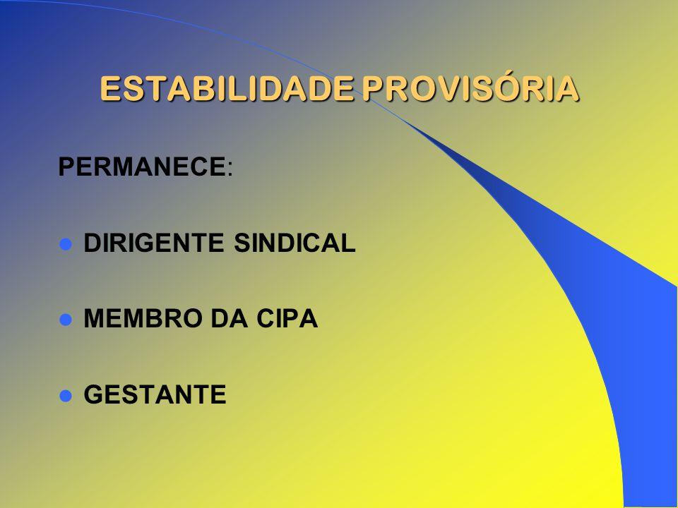ESTABILIDADE PROVISÓRIA PERMANECE: DIRIGENTE SINDICAL MEMBRO DA CIPA GESTANTE