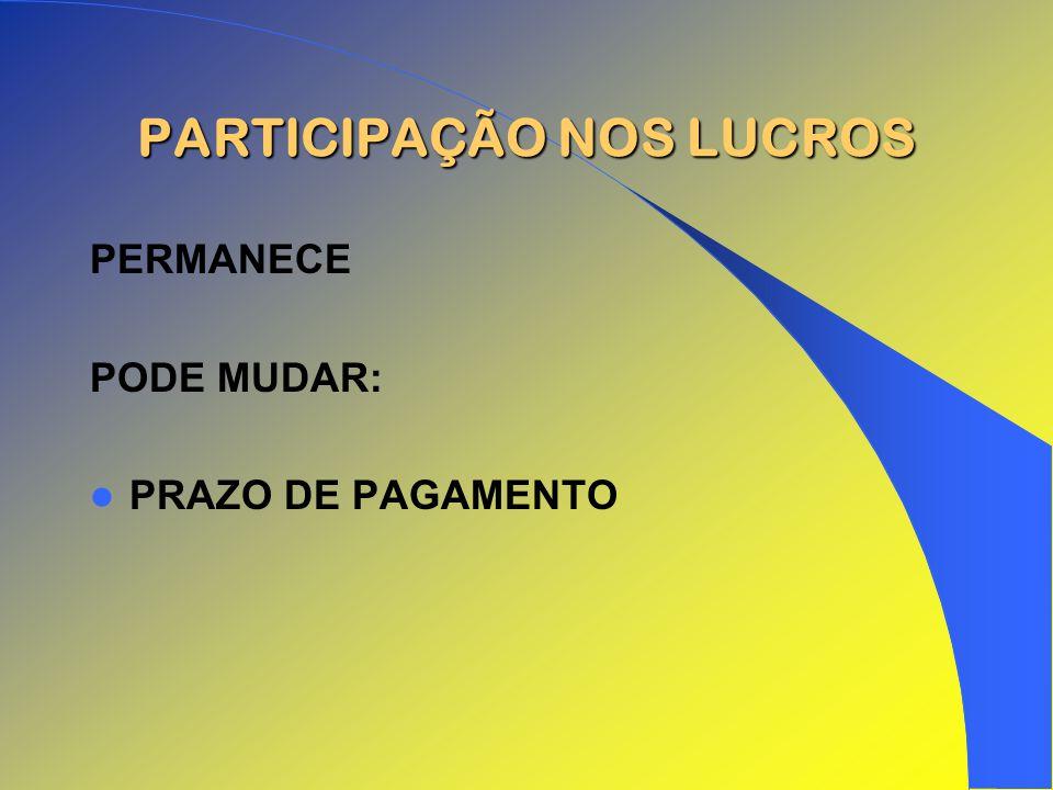 PARTICIPAÇÃO NOS LUCROS PERMANECE PODE MUDAR: PRAZO DE PAGAMENTO