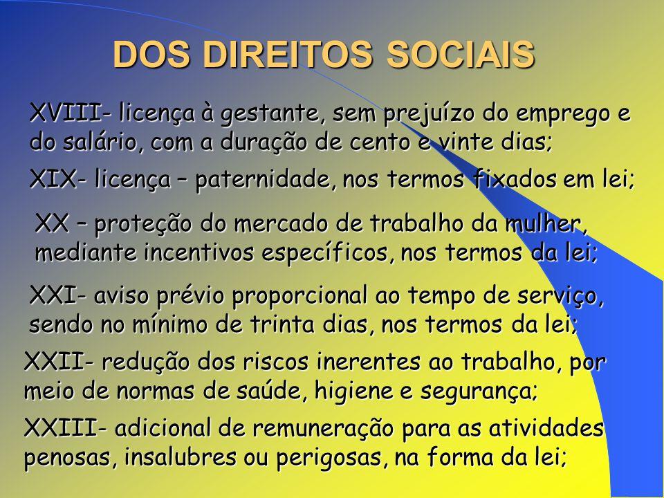 DOS DIREITOS SOCIAIS XVIII- licença à gestante, sem prejuízo do emprego e do salário, com a duração de cento e vinte dias; XIX- licença – paternidade,