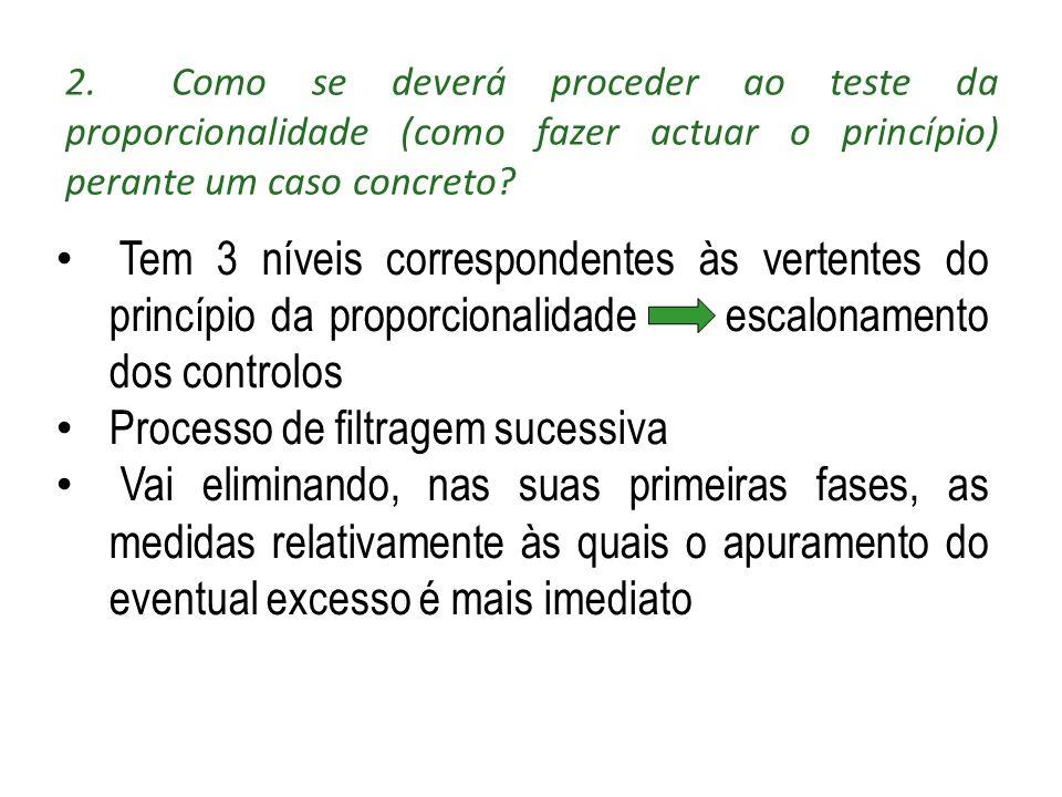 2.Como se deverá proceder ao teste da proporcionalidade (como fazer actuar o princípio) perante um caso concreto? Tem 3 níveis correspondentes às vert