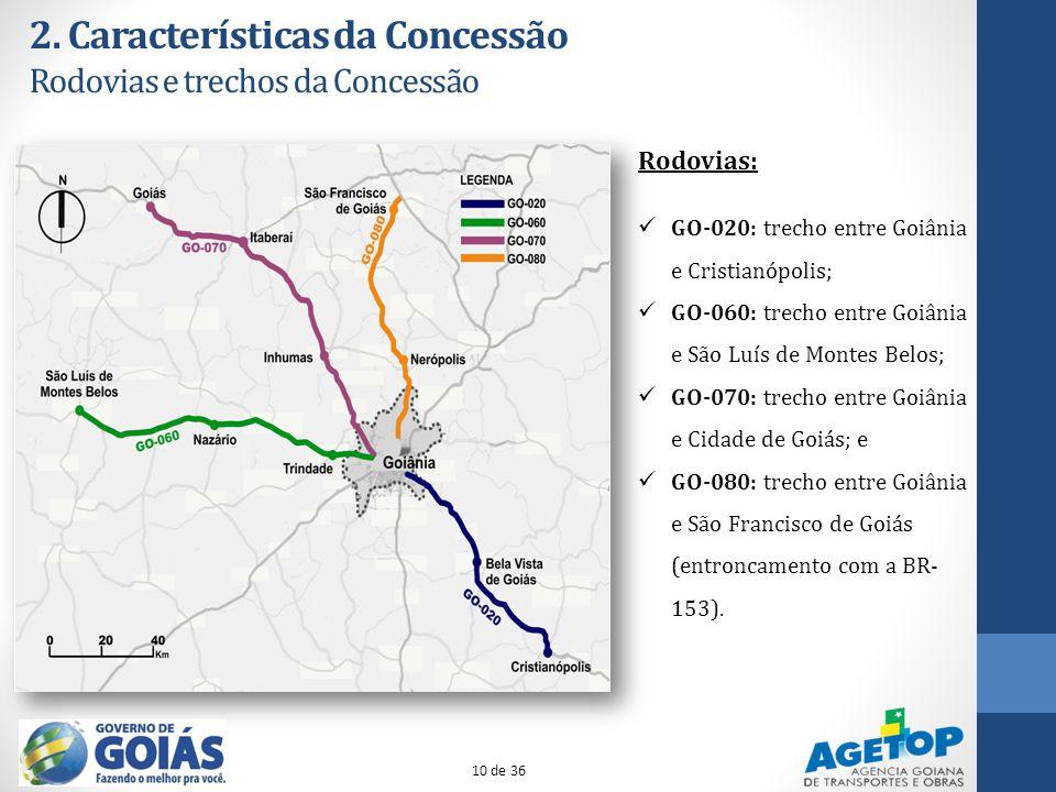 2. Características da Concessão Rodovias e trechos da Concessão Rodovias: GO-020: trecho entre Goiânia e Cristianópolis; GO-060: trecho entre Goiânia