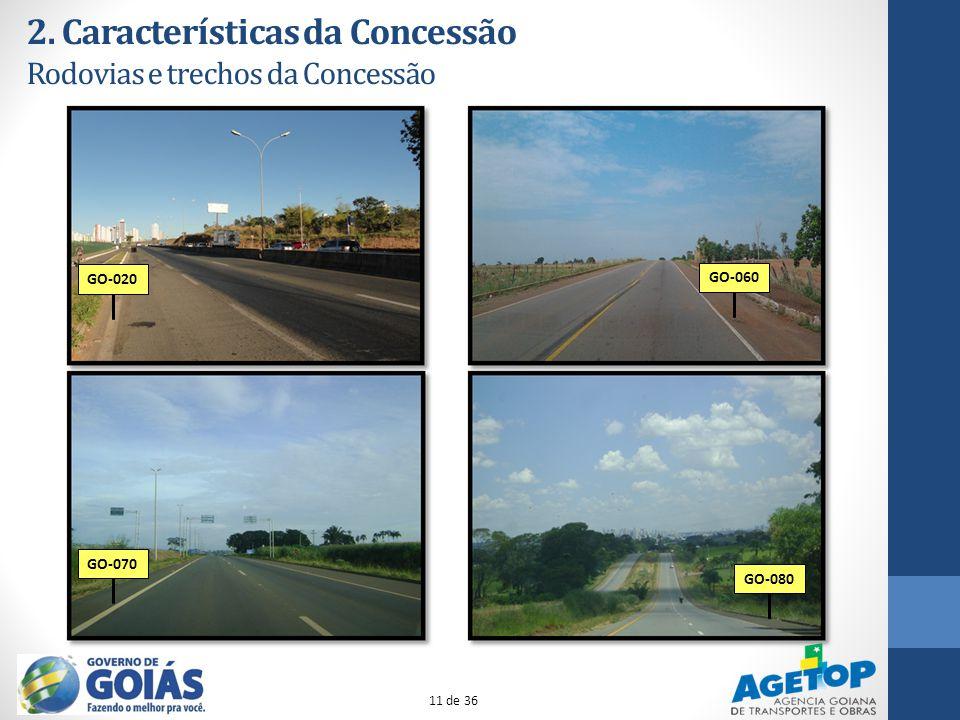 2. Características da Concessão Rodovias e trechos da Concessão GO-020GO-060GO-070GO-080 11 de 36