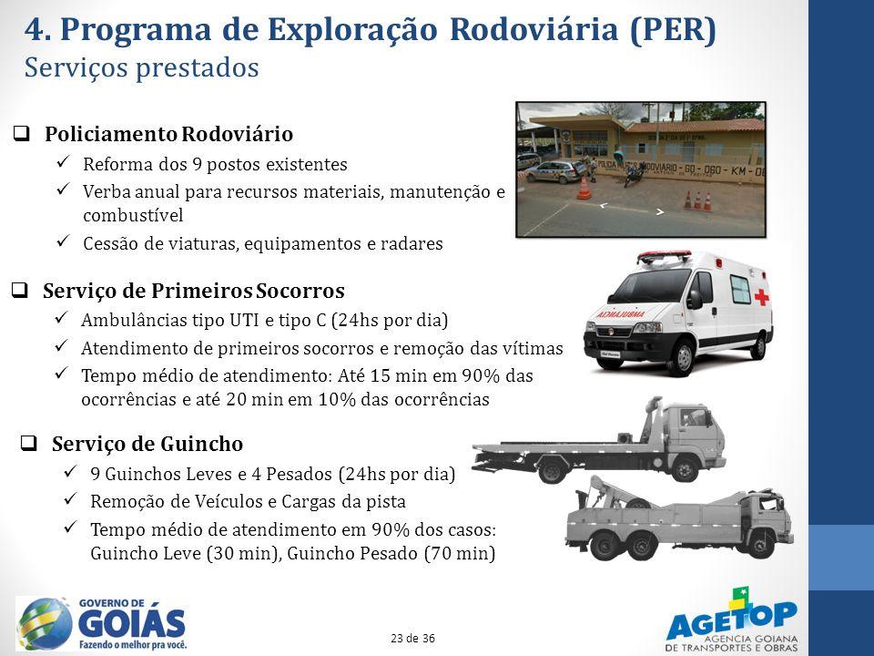 4. Programa de Exploração Rodoviária (PER) Serviços prestados Serviço de Guincho 9 Guinchos Leves e 4 Pesados (24hs por dia) Remoção de Veículos e Car
