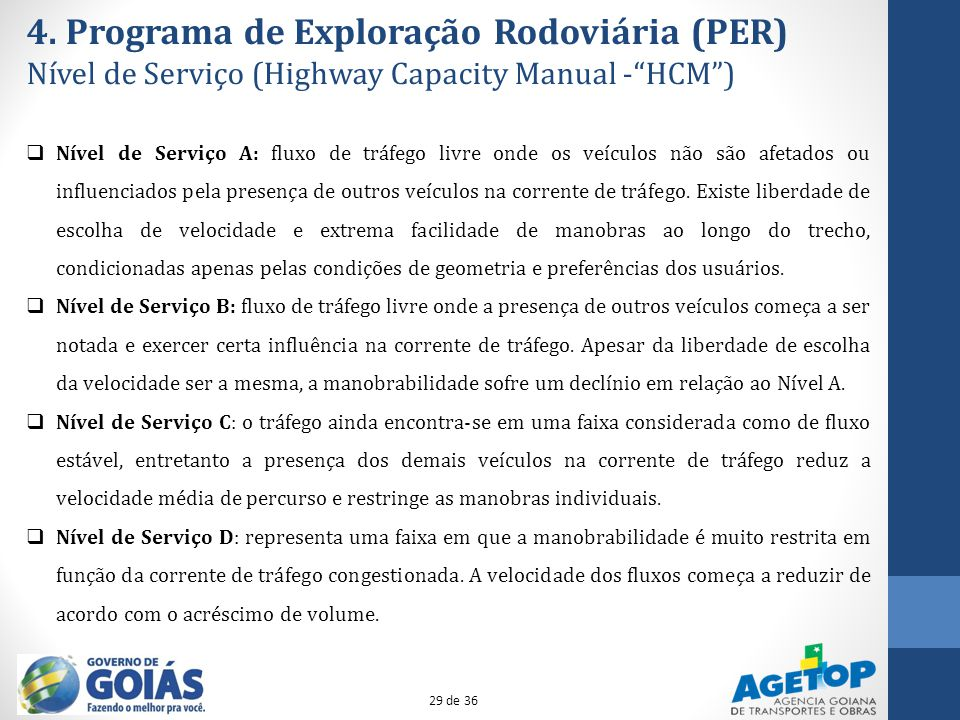 4. Programa de Exploração Rodoviária (PER) Nível de Serviço (Highway Capacity Manual -HCM) Nível de Serviço A: fluxo de tráfego livre onde os veículos