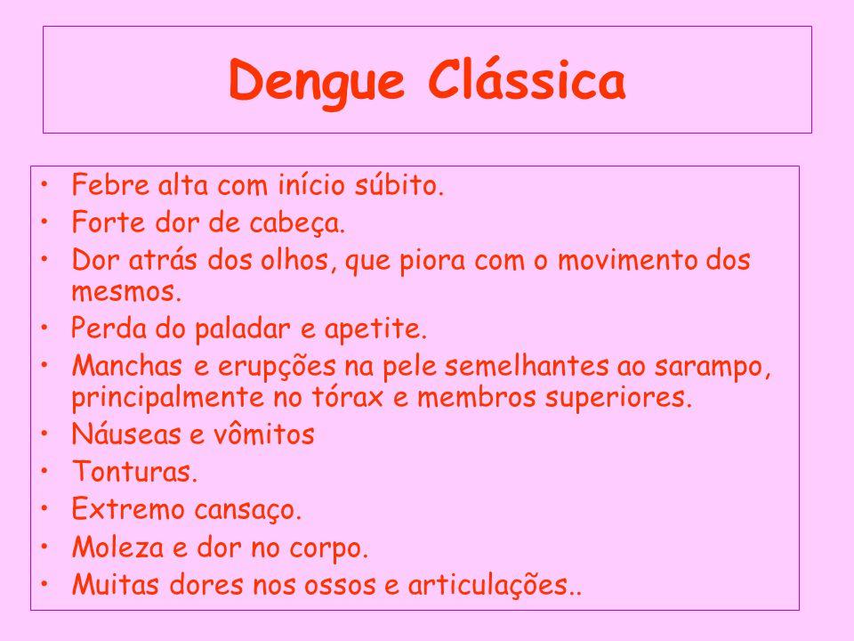 Dengue Clássica Febre alta com início súbito.Forte dor de cabeça.