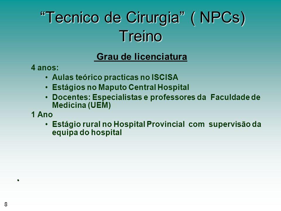 8 Tecnico de Cirurgia ( NPCs) Treino Tecnico de Cirurgia ( NPCs) Treino Grau de licenciatura 4 anos: Aulas teórico practicas no ISCISA Estágios no Map