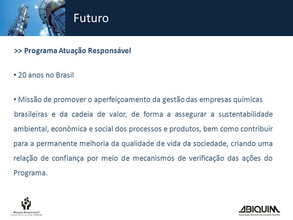 Futuro >> Programa Atuação Responsável 20 anos no Brasil Missão de promover o aperfeiçoamento da gestão das empresas químicas brasileiras e da cadeia