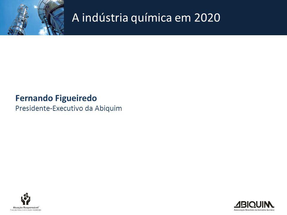 Panorama da indústria química Faturamento total em 2010: US$ 130,2 bilhões Déficit comercial em 2010: US$ 20,7 bilhões Déficit comercial previsto para 2011: acima de US$ 24 bilhões Empregados diretos: cerca de 390 mil Empregados indiretos: cerca de 2 milhões Indústrias químicas instaladas no País: cerca de 2.500 (IBGE) Participação no PIB de 2010: 2,4%