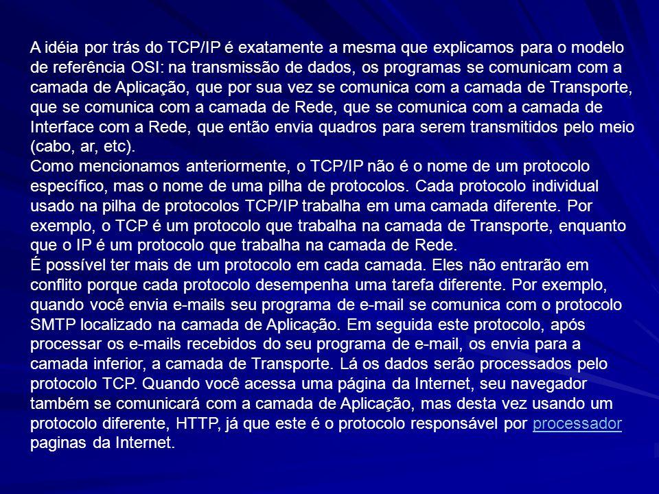 A idéia por trás do TCP/IP é exatamente a mesma que explicamos para o modelo de referência OSI: na transmissão de dados, os programas se comunicam com