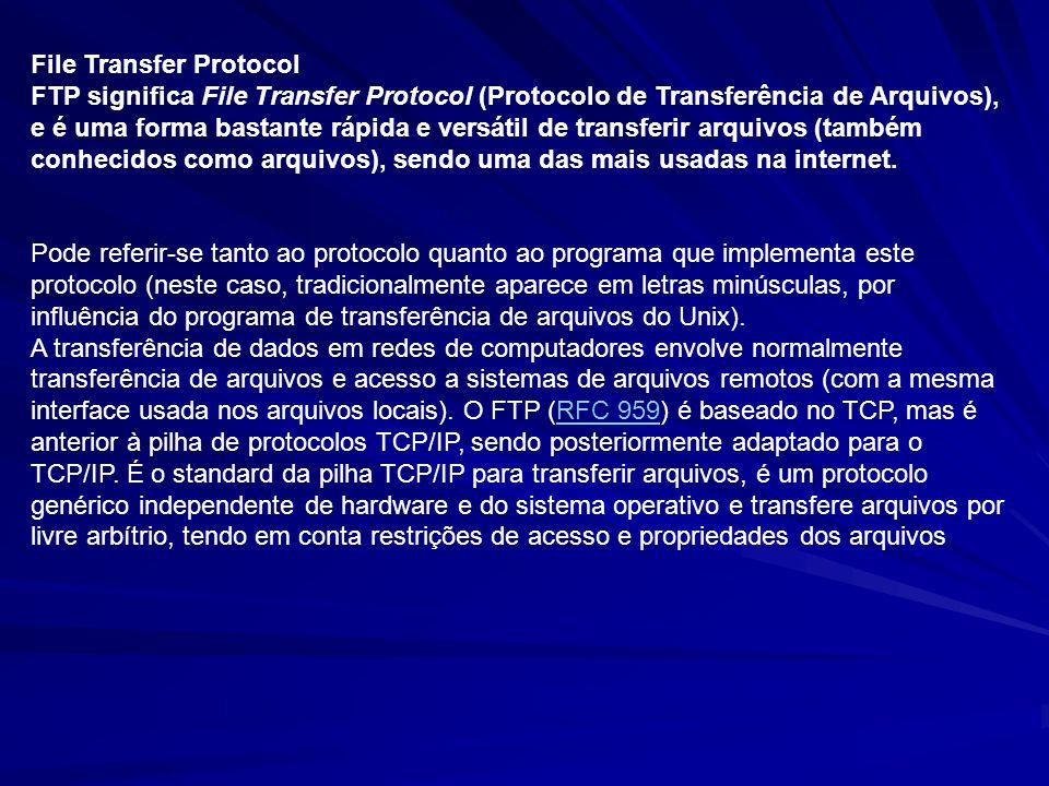 File Transfer Protocol FTP significa File Transfer Protocol (Protocolo de Transferência de Arquivos), e é uma forma bastante rápida e versátil de tran