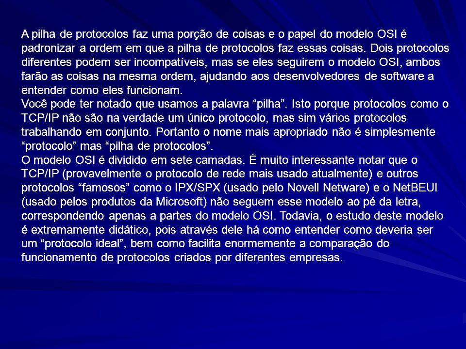 A pilha de protocolos faz uma porção de coisas e o papel do modelo OSI é padronizar a ordem em que a pilha de protocolos faz essas coisas. Dois protoc