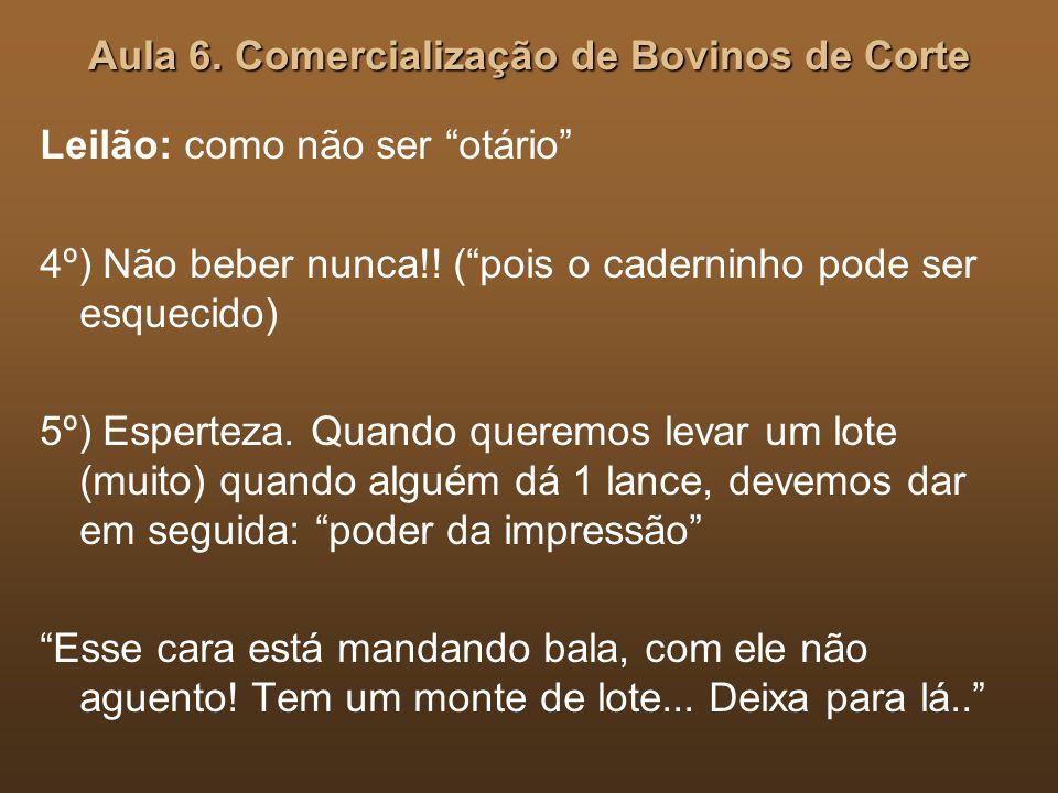 Aula 6.Comercialização de Bovinos de Corte Leilão: como não ser otário 4º) Não beber nunca!.