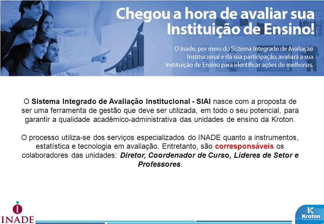 O Sistema Integrado de Avaliação Institucional - SIAI nasce com a proposta de ser uma ferramenta de gestão que deve ser utilizada, em todo o seu poten