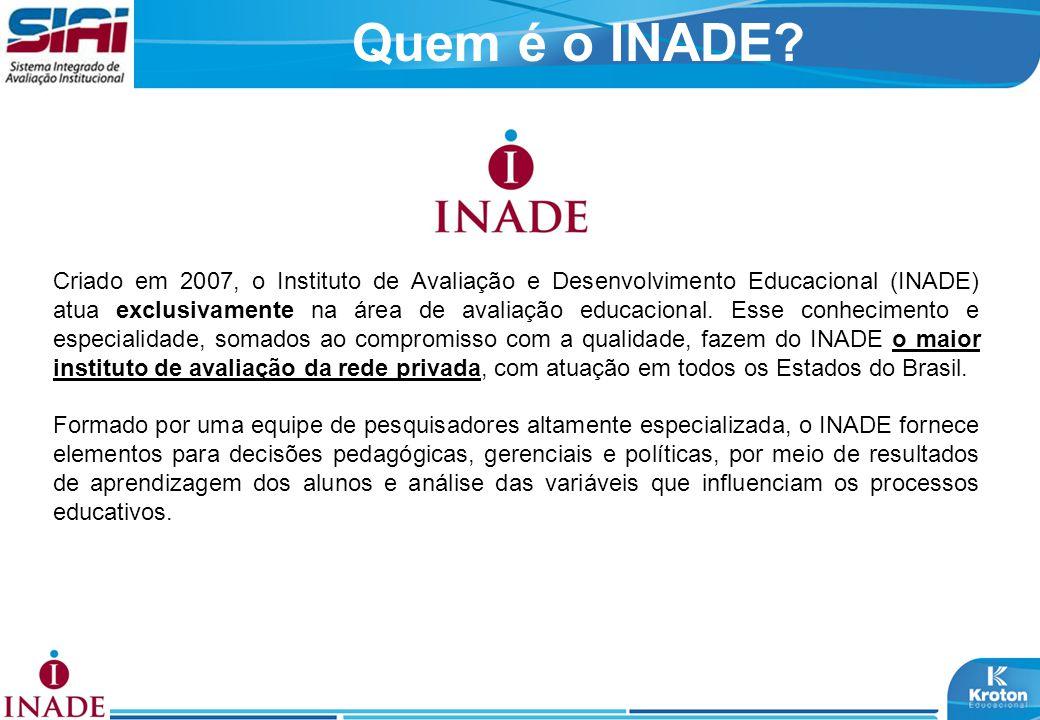Criado em 2007, o Instituto de Avaliação e Desenvolvimento Educacional (INADE) atua exclusivamente na área de avaliação educacional. Esse conhecimento