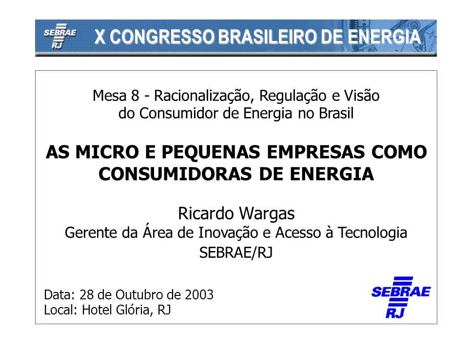 Mesa 8 - Racionalização, Regulação e Visão do Consumidor de Energia no Brasil AS MICRO E PEQUENAS EMPRESAS COMO CONSUMIDORAS DE ENERGIA Ricardo Wargas