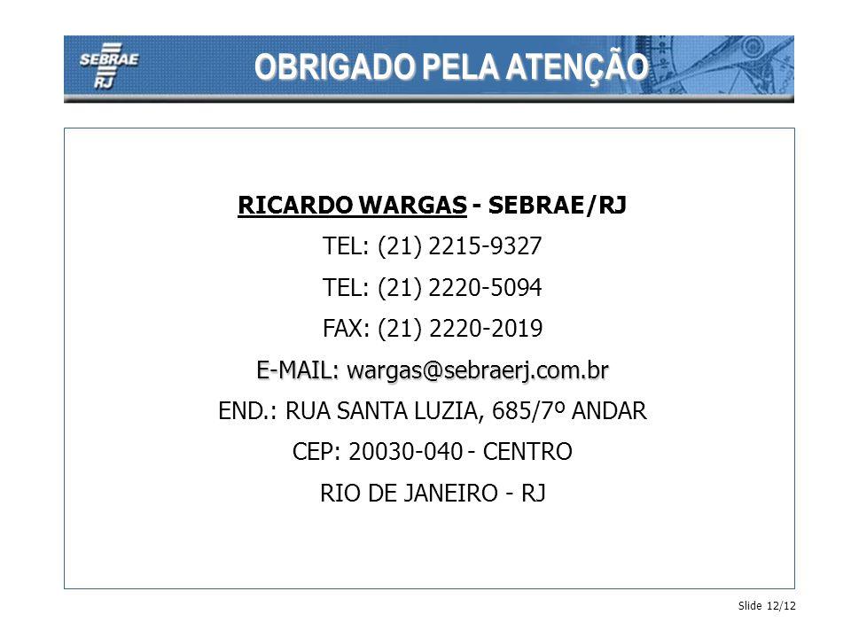 OBRIGADO PELA ATENÇÃO Slide 12/12 RICARDO WARGAS - SEBRAE/RJ TEL: (21) 2215-9327 TEL: (21) 2220-5094 FAX: (21) 2220-2019 E-MAIL: wargas@sebraerj.com.b
