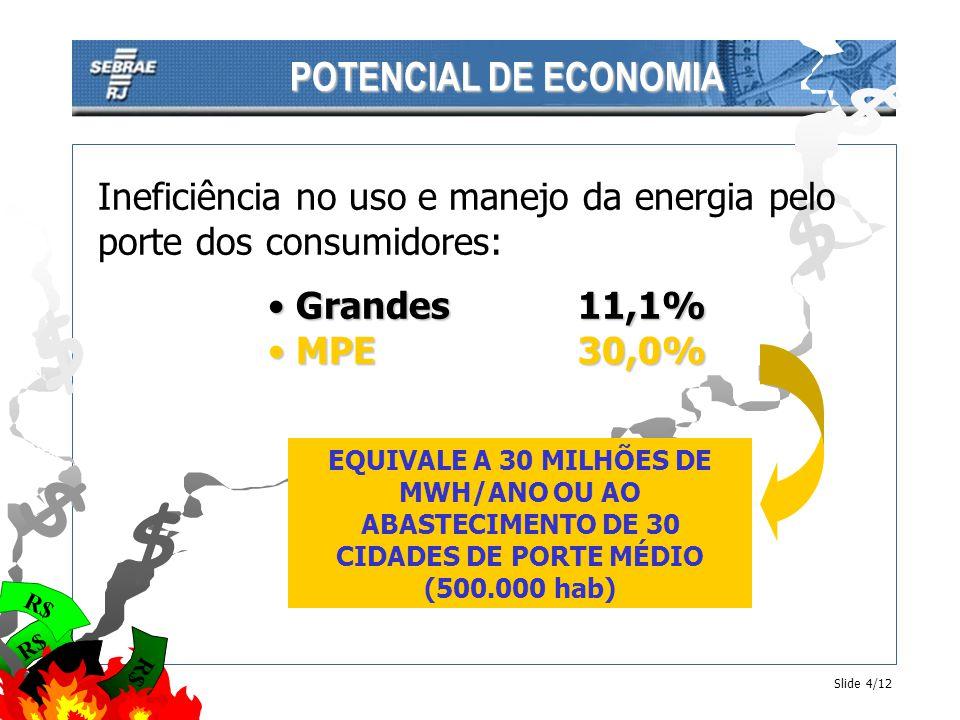 R$ $ $ $ $ $ $ POTENCIAL DE ECONOMIA Slide 4/12 Ineficiência no uso e manejo da energia pelo porte dos consumidores: Grandes11,1% Grandes11,1% MPE30,0