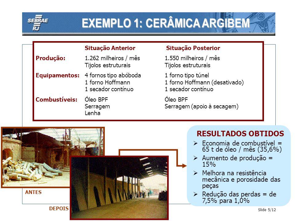 Slide 6/12 EXEMPLO 2: PADARIA DANÚBIO AZUL Situação Anterior Situação Posterior Produção:12 t/mês de farinha12 t / mês de farinha 281.000 pães (50g) /mês281.000 pães (50g) /mês Equipamentos:1 forno para pães1forno para pães e 1 forno para confeito confeitos Energético:Energia ElétricaEnergia elétrica RESULTADOS OBTIDOS Economia de energia elétrica = 1.910 kWh / mês (11,4%) Redução no consumo elétrico específico geral (kWh/kg de farinha) = 11,4 % Redução no consumo elétrico específico no forno (kWh/pãozinho de 50g) =22,1%