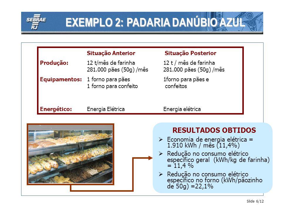Slide 7/12 Situação Anterior Situação Posterior Produção:1.000 pneus carga / mês1.200 pneus carga / mês Equipamentos:caldeira a vaporautoclave elétrico máquinas de vulcanização Energético:Energia ElétricaEnergia elétrica Óleo BPF RESULTADOS OBTIDOS Economia de óleo = 5.000 kg / mês (100%) Redução no consumo elétrico específico= 13,3 % Redução na emissão de CO 2 = 100 % - relativo a eliminação do óleo combustível EXEMPLO 3: RECAUCHUTADORA BR
