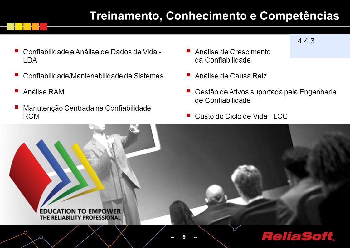 Treinamento, Conhecimento e Competências -- 9 -- 4.4.3 Confiabilidade e Análise de Dados de Vida - LDA Confiabilidade/Mantenabilidade de Sistemas Análise RAM Manutenção Centrada na Confiabilidade – RCM Análise de Crescimento da Confiabilidade Análise de Causa Raiz Gestão de Ativos suportada pela Engenharia de Confiabilidade Custo do Ciclo de Vida - LCC