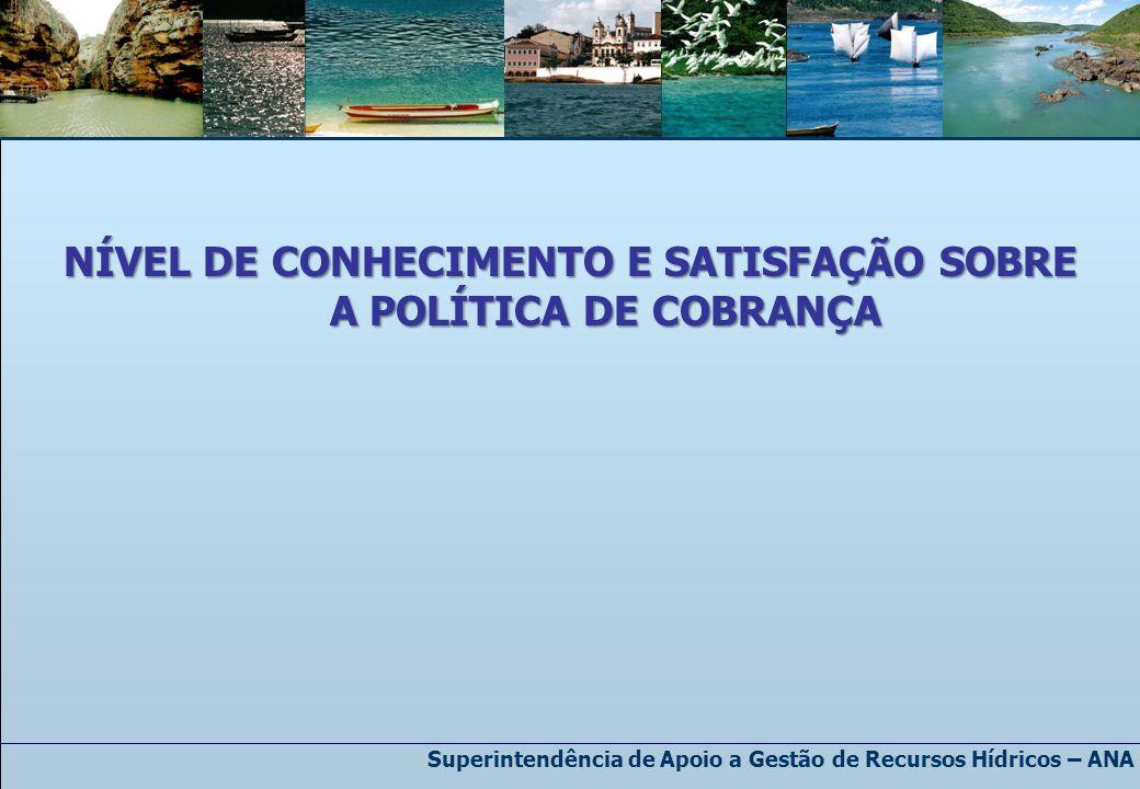 Superintendência de Apoio a Gestão de Recursos Hídricos – ANA NÍVEL DE CONHECIMENTO E SATISFAÇÃO SOBRE A POLÍTICA DE COBRANÇA
