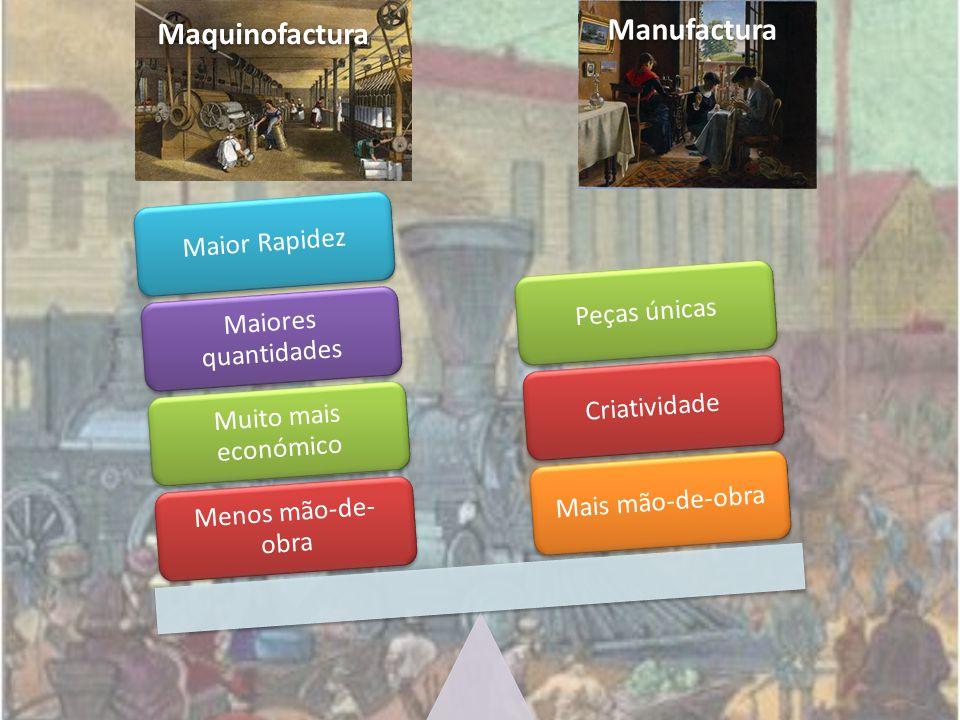 Maquinofactura Manufactura Menos mão-de- obra Muito mais económico Maiores quantidades Maior RapidezMais mão-de-obraCriatividadePeças únicas