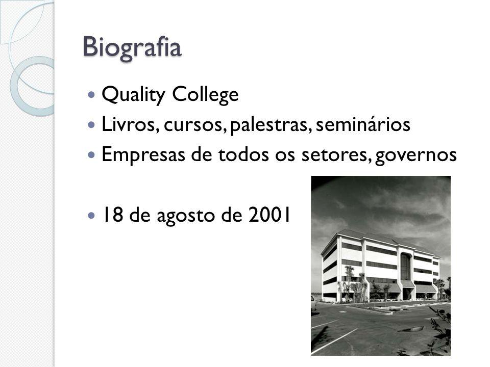 Biografia Quality College Livros, cursos, palestras, seminários Empresas de todos os setores, governos 18 de agosto de 2001