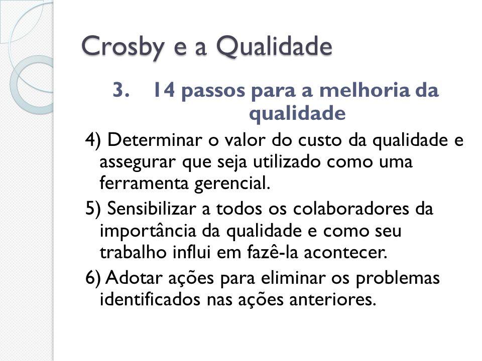 Crosby e a Qualidade 3. 14 passos para a melhoria da qualidade 4) Determinar o valor do custo da qualidade e assegurar que seja utilizado como uma fer