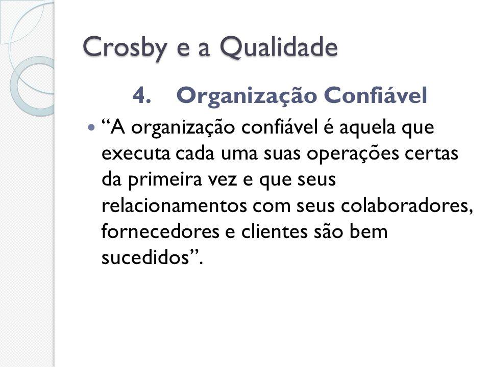 Crosby e a Qualidade 4. Organização Confiável A organização confiável é aquela que executa cada uma suas operações certas da primeira vez e que seus r