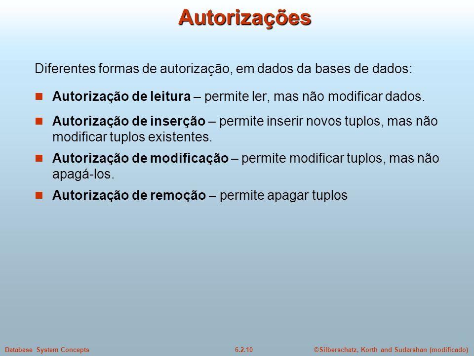 ©Silberschatz, Korth and Sudarshan (modificado)6.2.10Database System ConceptsAutorizações Diferentes formas de autorização, em dados da bases de dados