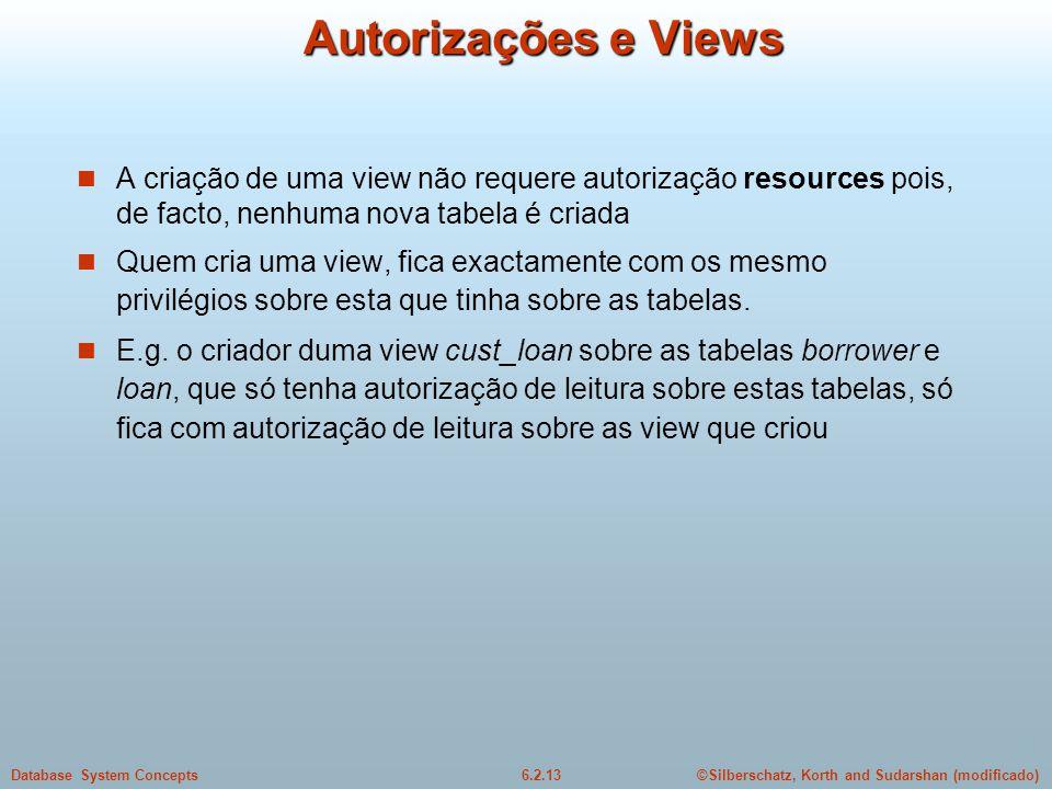 ©Silberschatz, Korth and Sudarshan (modificado)6.2.13Database System Concepts Autorizações e Views A criação de uma view não requere autorização resou