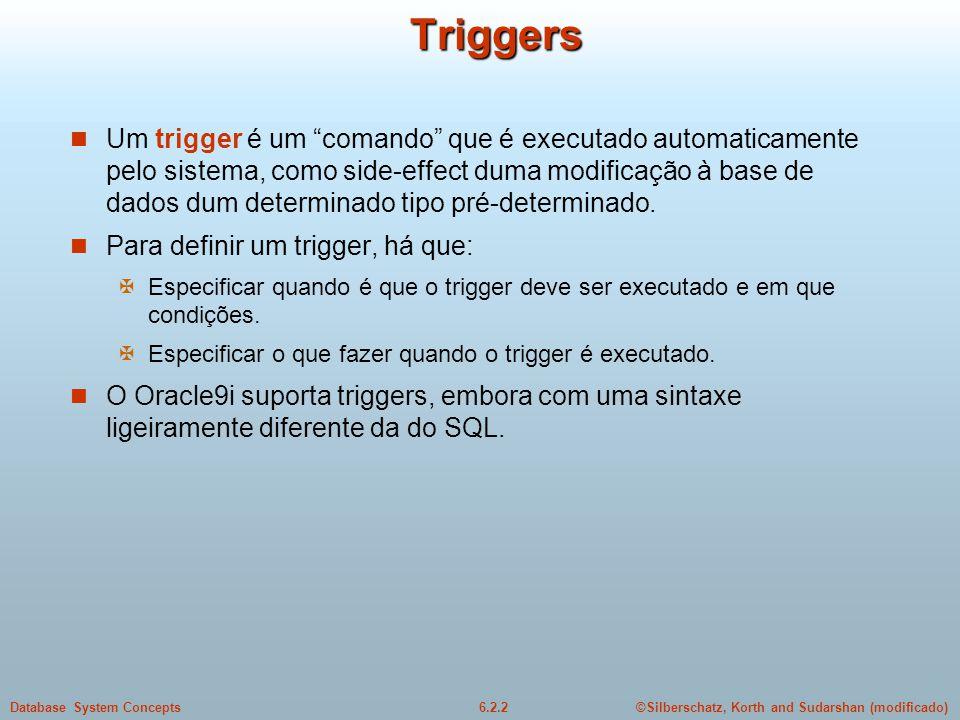 ©Silberschatz, Korth and Sudarshan (modificado)6.2.2Database System ConceptsTriggers Um trigger é um comando que é executado automaticamente pelo sist