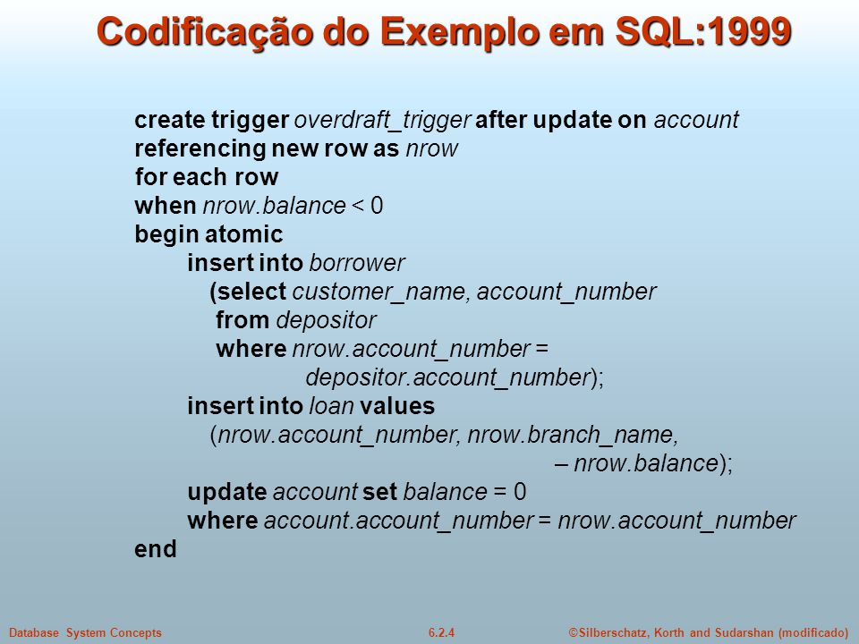 ©Silberschatz, Korth and Sudarshan (modificado)6.2.4Database System Concepts Codificação do Exemplo em SQL:1999 create trigger overdraft_trigger after