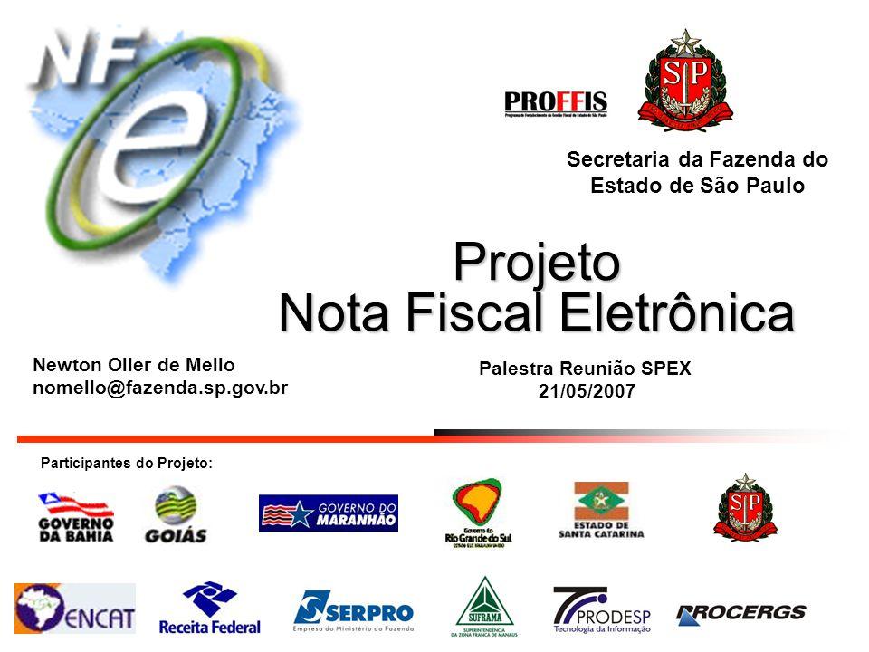 Projeto Nota Fiscal Eletrônica Participantes do Projeto: Secretaria da Fazenda do Estado de São Paulo Palestra Reunião SPEX 21/05/2007 Newton Oller de