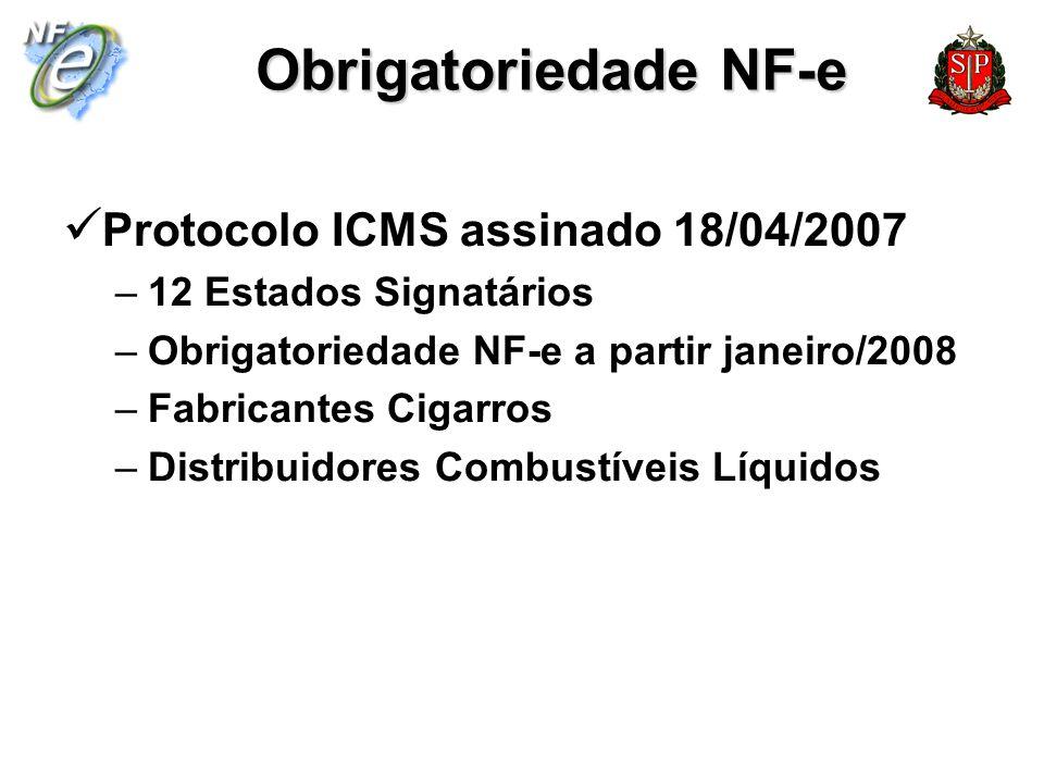Obrigatoriedade NF-e Protocolo ICMS assinado 18/04/2007 –12 Estados Signatários –Obrigatoriedade NF-e a partir janeiro/2008 –Fabricantes Cigarros –Dis