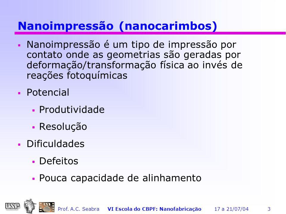 Prof. A.C. Seabra VI Escola do CBPF: Nanofabricação 17 a 21/07/04 24 Gases de Processo