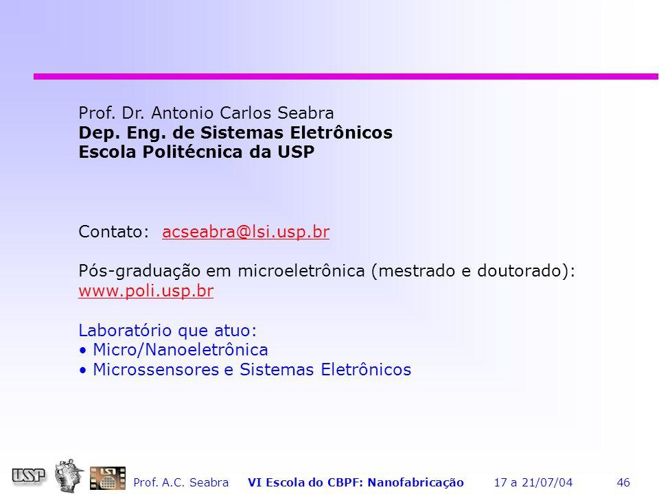 Prof.A.C. Seabra VI Escola do CBPF: Nanofabricação 17 a 21/07/04 46 Prof.