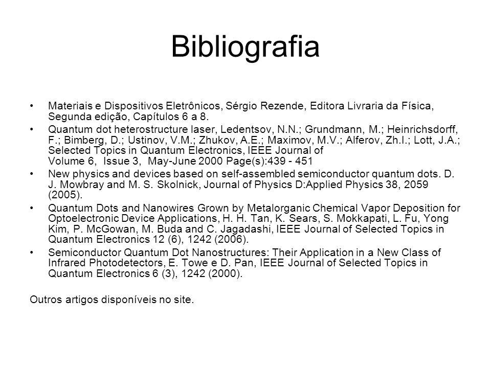 Bibliografia Materiais e Dispositivos Eletrônicos, Sérgio Rezende, Editora Livraria da Física, Segunda edição, Capítulos 6 a 8. Quantum dot heterostru