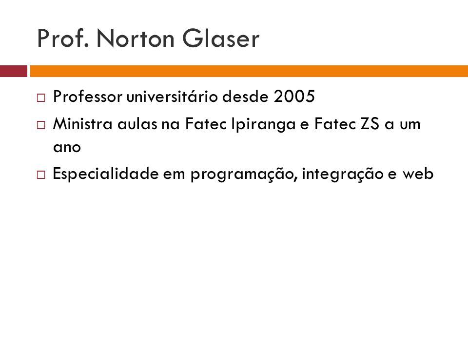 Prof. Norton Glaser Professor universitário desde 2005 Ministra aulas na Fatec Ipiranga e Fatec ZS a um ano Especialidade em programação, integração e