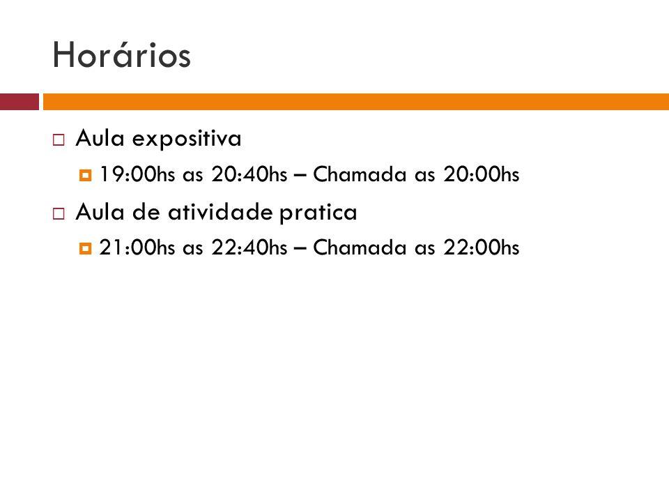 Horários Aula expositiva 19:00hs as 20:40hs – Chamada as 20:00hs Aula de atividade pratica 21:00hs as 22:40hs – Chamada as 22:00hs