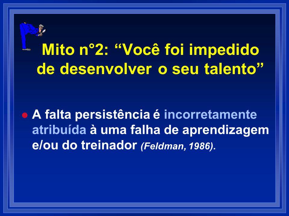 Mito n°2: Você foi impedido de desenvolver o seu talento l l A falta persistência é incorretamente atribuída à uma falha de aprendizagem e/ou do trein