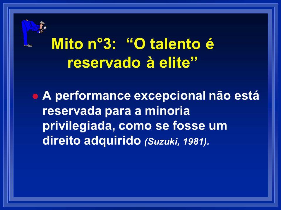 Mito n°3: O talento é reservado à elite l l A performance excepcional não está reservada para a minoria privilegiada, como se fosse um direito adquiri