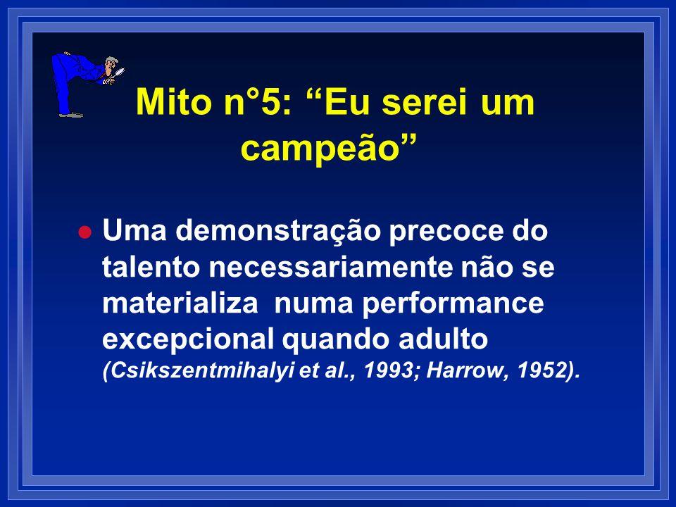 Mito n°5: Eu serei um campeão l l Uma demonstração precoce do talento necessariamente não se materializa numa performance excepcional quando adulto (C