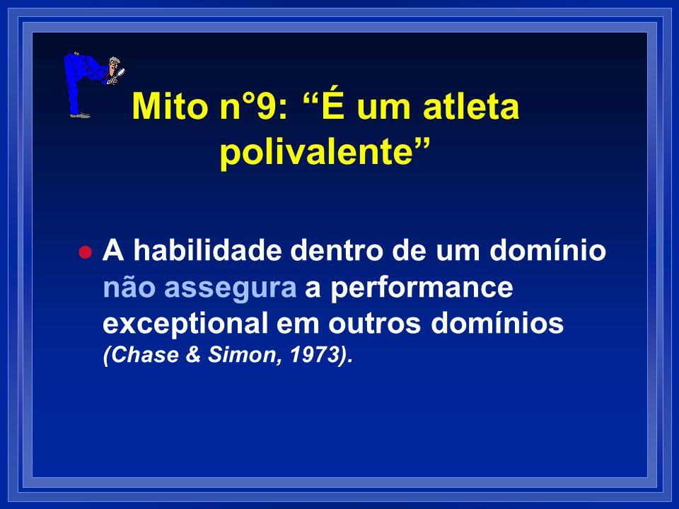 Mito n°9: É um atleta polivalente l l A habilidade dentro de um domínio não assegura a performance exceptional em outros domínios (Chase & Simon, 1973