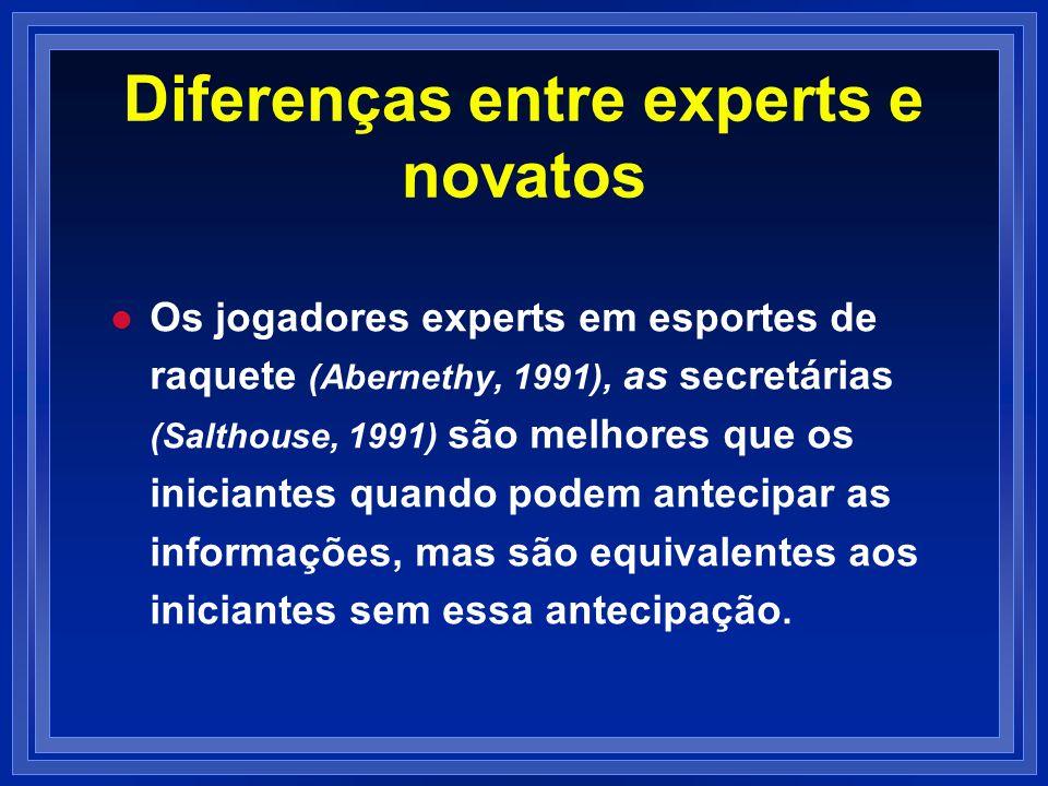 Diferenças entre experts e novatos l l Os jogadores experts em esportes de raquete (Abernethy, 1991), as secretárias (Salthouse, 1991) são melhores qu