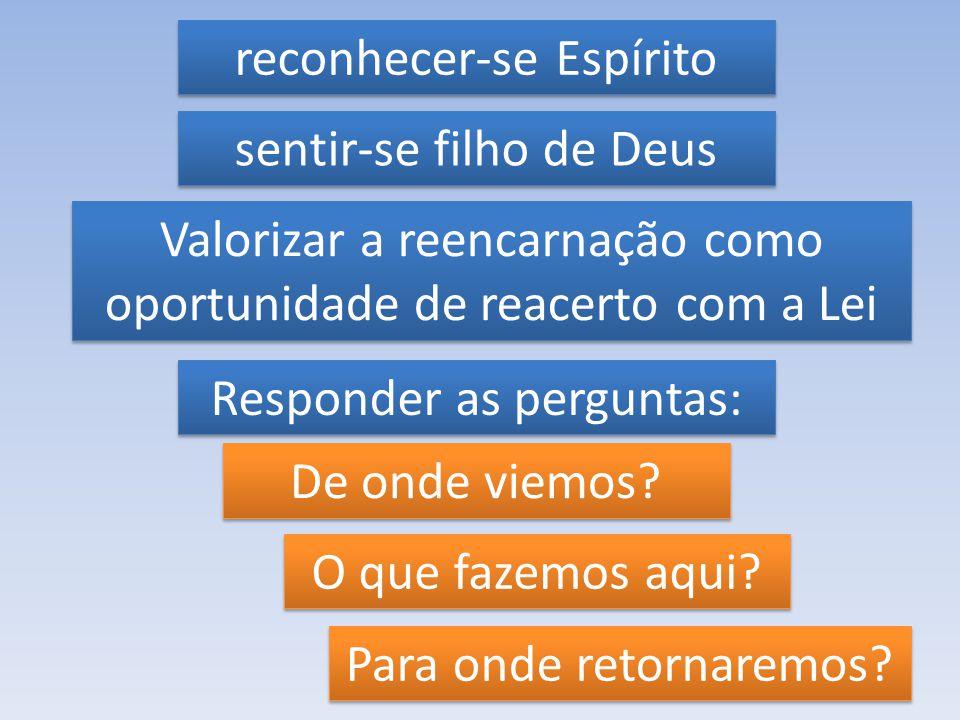 reconhecer-se Espírito reconhecer-se Espírito sentir-se filho de Deus sentir-se filho de Deus Valorizar a reencarnação como oportunidade de reacerto c