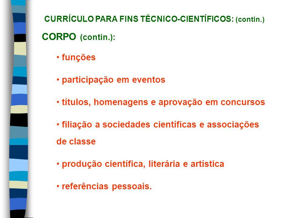 CORPO (contin.): funções participação em eventos títulos, homenagens e aprovação em concursos filiação a sociedades científicas e associações de class
