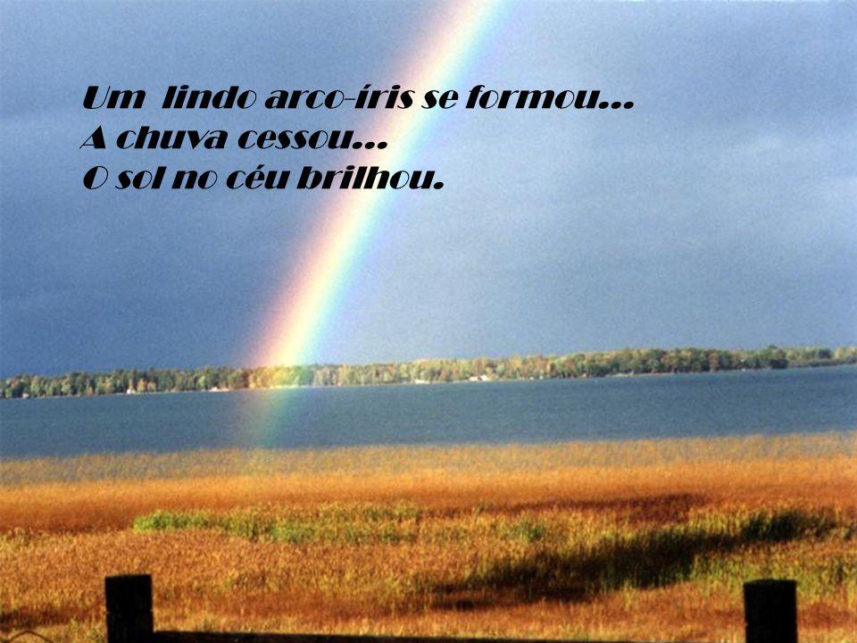 Um lindo arco-íris se formou... A chuva cessou... O sol no céu brilhou.