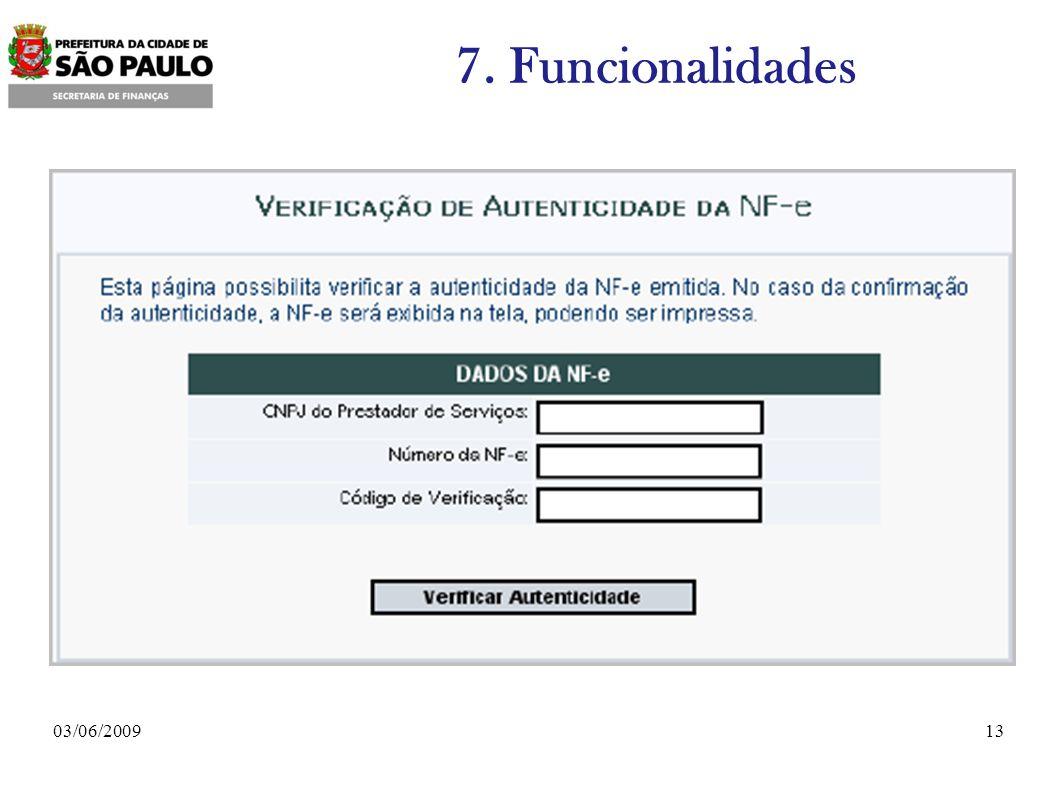 1303/06/2009 7. Funcionalidades