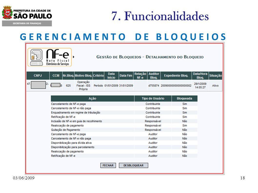 1803/06/2009 7. Funcionalidades G E R E N C I A M E N T O D E B L O Q U E I O S